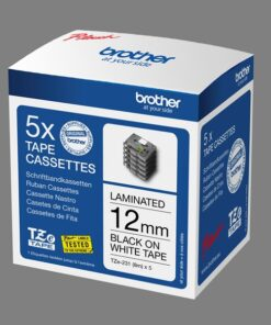 Brother TZe tape 12mmx8m black/white. Box with 5